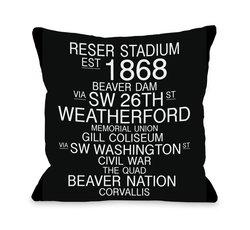 """Corvallis 16""""x16"""" Oregon Landmarks Throw Pillow - Black/White"""