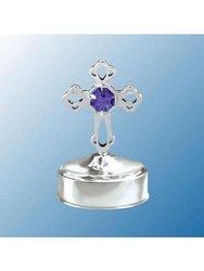 Mascot Chrome Mini Cross Music Box Swarovski Crystal - Purple