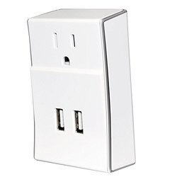Amzer Dual USB PLATE eXtender Power Wall Charger - White (AMZ97320)