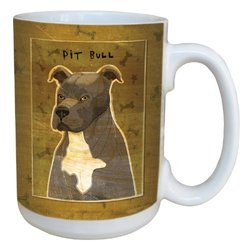 Tree-Free Greetings sg44015 Gray Pit Bull by John W. Golden Ceramic Mug with Full-Sized Handle, 15-Ounce
