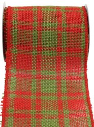 Kel-Toy Wired Jute Burlap Ribbon, 4-Inch by 10-Yard, Red/Green Plaid