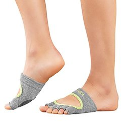 Toesox Half Toe Dance Releve Socks - Grey Limeaide - Size: S