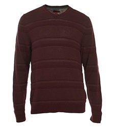 Alfani Men's Textured V-Neck Slim Fit Sweater Port - Size: Medium