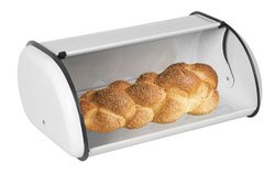 Home Basics Bread Box, White Stainless Steel