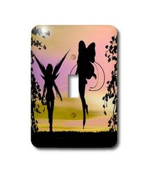 3dRose LLC lsp_18589_1 Garden Fairies Silhouetted in Sunset - Single Toggle Switch