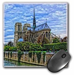 3dRose LLC 8 x 8 x 0.25 Inches Mouse Pad, French Cathedral in Notre Dame Along the Seine River (mp_154730_1)