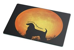 Rikki Knight American Staffordshire Dog Silhouette by Moon Large Glass Cutting Board