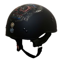 Torc T55 Half Helmet with Lucky 13 Wings Graphics - Flat Black - Size: XL