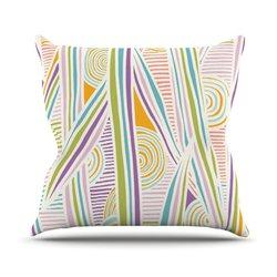 """KESS InHouse 20""""x20"""" Emine Ortega """"Graphique White"""" Outdoor Throw Pillow"""