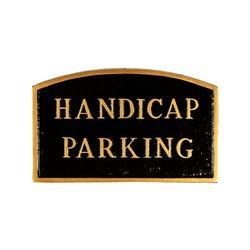 """Montague Metal """"Handicap Parking"""" Arch Statement Plaque - Black/Gold"""