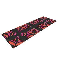 Kess InHouse Miranda Mol Yoga Mat - Orange on Black Tile - 72 x 24-Inch