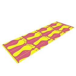 "Kess InHouse Sreetama Ray ""Footprints Yellow"" Yoga Exercise Mat, Pink Illustration, 72 x 24-Inch"
