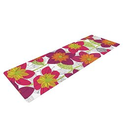 "Kess InHouse Jacqueline Milton ""Star Flower"" Yoga Exercise Mat, Floral/Pink, 72 x 24-Inch"