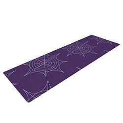 Kess InHouse KESS Original Yoga Exercise Mat, Spiderwebs - Purple, 72 x 24-Inch