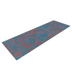 "Kess InHouse Patternmuse ""Mandala Teal"" Yoga Exercise Mat, Red/Blue, 72 x 24-Inch"