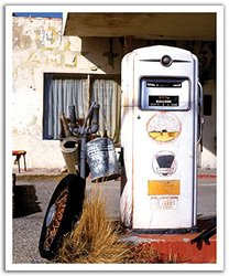 JP London POSLT0072 uStrip Lite Removable Wall Decal Sticker Mural Retro Gas Pump Americana, 19.75-Inch x 24-Inch