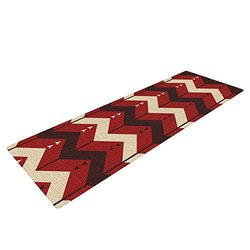Kess InHouse Nick Atkinson Yoga Exercise Mat, Chevron Dance Red, 72 x 24-Inch