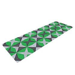 "Kess InHouse Empire Ruhl ""Silver & Green Abstract"" Yoga Mat - Green/Black"