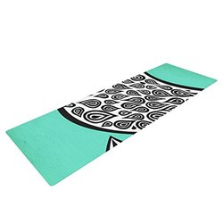 """Kess InHouse Pom Graphic Design """"Two Romantic Birds"""" Yoga Exercise Mat, Abstract Teal, 72 x 24-Inch"""