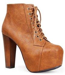 Marco Republic Women's Platform Wedges High Heel Boot - Tan - Size: 11