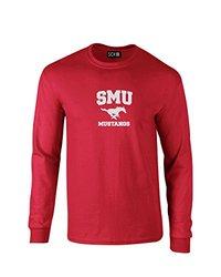 NCAA Smu Mustangs Mascot Foil Long Sleeve T-Shirt - Red - Size: Small