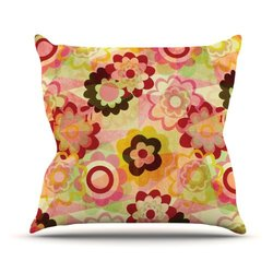 "Kess InHouse Louise Machado ""Colorful Mix"" Red Orange Outdoor Throw Pillow, 18 by 18-Inch"