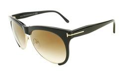 Tom Ford Unisex Sunglasses - Leona - Black/Brown Lens