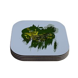 "Kess InHouse Frederic Levy Hadida ""Water"" Zebra Coaster - Green/White"