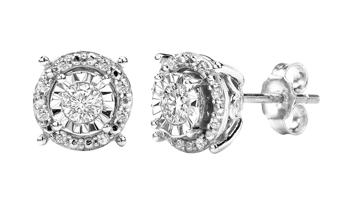 Sfmny 1 4cttw Diamond Stud Earrings In Sterling Silver Round