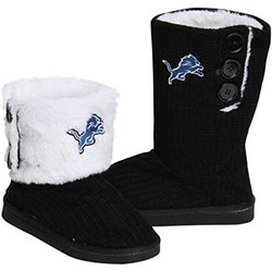 Forever NFL Ladie's Knit High Button Boot Slippers - Black - Size: Medium