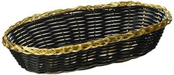 "Winco Oblong Woven Basket 9""x6.5""x2.25"" - Black/Gold Trim"