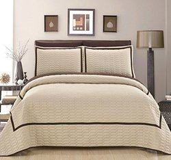 Chic Home 3 Piece Birmingham Hotel Collection 2 Tone Banded Quilted Geometrical Embroidered, Quilt Set , King, Beige