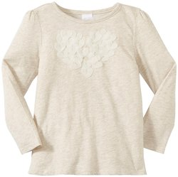 EGG by Susan Lazar Girl's Heart Cut Out Novelty Tee - Oat - Size: 6