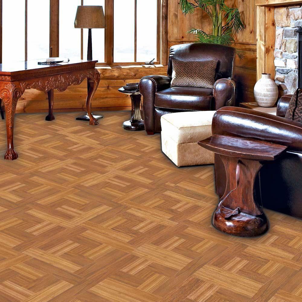 "12x12"" Brown Wood Parquet Peel & Stick Vinyl Tile Flooring"