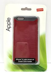 Staples Apple Iphone 6 Light Armor/Credit Card Holder Cell Phone Case - Red