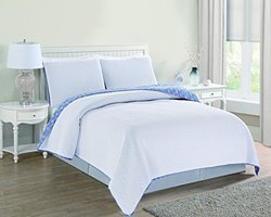 Avignon Embroidered Wave Design Quilt Set 3 PC - White - Size: King