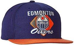 NHL Oilers Men's CCM Diamond Flat Brim Snapback Cap - Blue - Size:One Size
