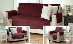 Furniture Slipcovers: Sofa And Loveseat/black-gray