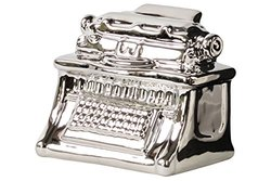 Urban Trends Ceramic Vintage Typewriter Figurine, Polished Chrome Silver