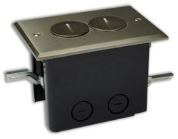 Duplex Device 24-1/2 cu. in Rectangular Floor Box with Nickel Plated Cover