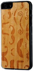 CARVED Clear Cherry Wood Case for iPhone 5 - Mustache Montage (I5-CC1K-E-MUSTA)
