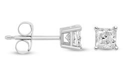 1/3 CTW Princess Diamond Stud Earrings - 14K White Gold