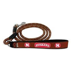NCAA Nebraska Cornhuskers Football Leather Rope Leash, Medium, Brown