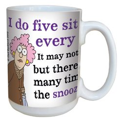 Tree-Free Greetings lm43809 Hilarious Aunty Acid Snooze Sit Ups by The Backland Studio Ceramic Mug, 15-Ounce