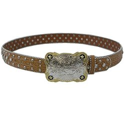 """Winners Outer Wear Chestnut Leather Belt with Crystals, 34"""""""