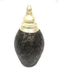 "Firefly Home Collection Floral Pattern Ceramic Pot, 12"", Black/Gold"