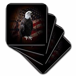3dRose cst_11602_1 Bald Eagle with American Flag Soft Coasters, Set of 4