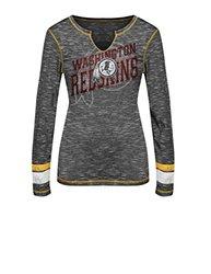 NFL Washington Redskins Women's T-Shirt - Black Staccato/Yellow Gold/Large