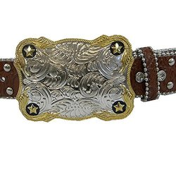 """Winners Outer Wear Brown Leather Belt with Crystals, 30"""""""
