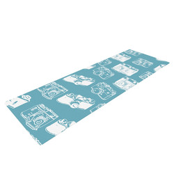 "Kess InHouse ""Camera Pattern"" Yoga Mat - Blue - Size: 72"" x 24"""